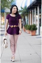 deep purple peplum Zara top - light pink moto Loft pants