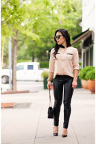 black leather Target pants - light pink sammydress shirt