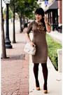 Mustard-suede-wild-pair-shoes-light-brown-banana-republic-dress