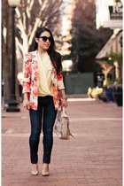 ivory floral OASAP blazer - navy rag & bone jeans