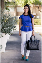 white skinny Charlotte Russe jeans - black Celine purse - gold ann taylor belt
