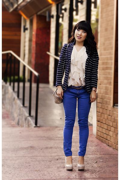 blue skinny asos jeans - beige Marco Santi shoes