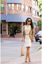 ivory lace ann taylor blouse - camel Michael Kors shoes - white Loft skirt