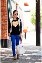 black heart JCrew shirt - blue asos jeans
