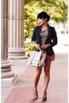 navy striped Charlotte Russe blazer - off white Vieta purse