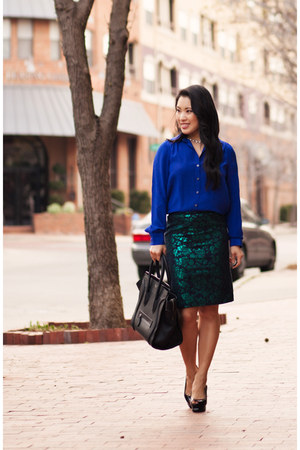 blue ann taylor shirt - black Bebe shoes - dark green JCrew skirt