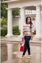 off white striped mesh OASAP top - navy rag & bone jeans - red kate spade bag