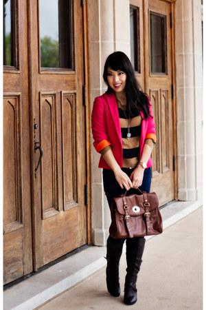 hot pink Zara blazer - brown strappy Charlotte Russe boots
