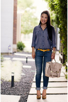blue chambray Urban Outfitters shirt - mustard Forever 21 shoes