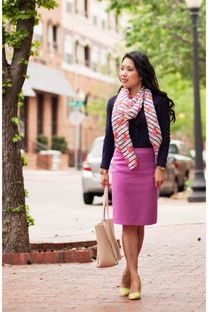 navy polka dot Loft shirt - white floral striped JCrew scarf