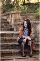 violet gingham Gap shirt - brown Ariat boots - navy Henry & Belle jeans