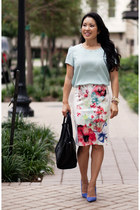 white Forever 21 skirt - sky blue shoemint shoes - aquamarine Forever 21 shirt