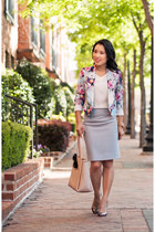 periwinkle floral asos blazer - cream ann taylor bag
