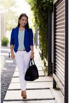 blue Loft blazer - white Charlotte Russe jeans - gold ann taylor belt