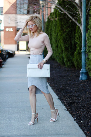 white tildon bag - neutral Missguided top - silver Missguided skirt
