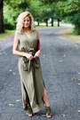 Army-green-sheinside-dress-maroon-sondra-roberts-bag