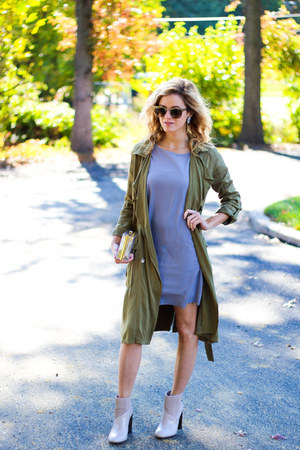 olive green Yoins jacket - neutral calvin klein boots - silver Yoins dress