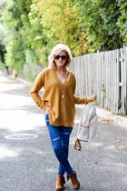 mustard Forever 21 sweater - dark brown Nordstrom boots - blue Sheinside jeans