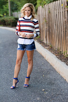 white ootd fash sweater - red Rebecca Minkoff bag - navy H&M shorts