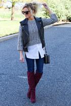 thakoon sweater - shoemint boots - STS Blue jeans - Topshop bag - Topshop vest
