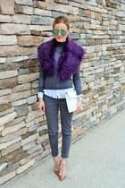 purple Leith scarf - gray Fire jeans - gray Topshop shirt - green tildon bag