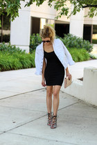 white Jag Jeans jacket - black BP dress - camel Halogen bag
