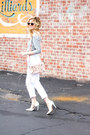 White-silver-jeans-jeans-light-pink-balenciaga-bag-silver-topshop-top