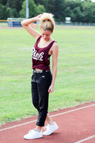 camel ray-ban sunglasses - maroon Victorias Secret top - white Adidas sneakers