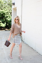 white Missguided skirt - camel Missguided sweater - dark brown Zara bag
