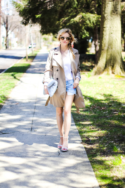 heather gray Ms Littles Bag bag - camel H&M jacket - blue Target shorts