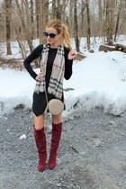 tan Burberry scarf - crimson shoemint boots - black BP shirt