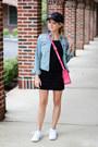 Black-topshop-dress-black-bp-hat-blue-mossimo-jacket