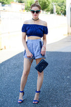 navy ettika necklace - navy Chanel bag - navy asos top - navy Dollhouse heels