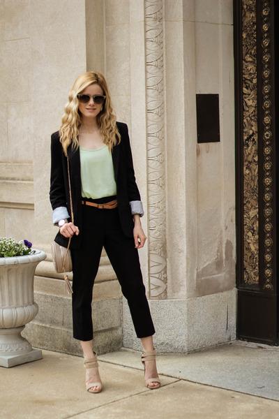 black cotton on blazer - navy STS Blue jeans - camel Prima Donna bag
