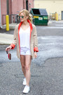 Tan-coffee-shop-coats-coat-white-victorias-secret-shorts