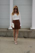 white Nordstrom Rack sweater - white tildon bag - bronze ray-ban sunglasses