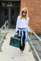 sky blue Halogen top - white Old Navy top - dark green Angela & Roi bag