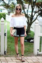 black PJ Salvage shorts - white loeffler randall bag - black Aldo sunglasses