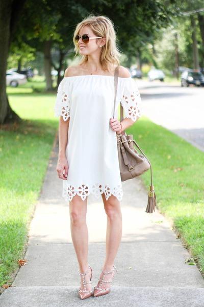 white Sheinside dress - camel Chloe bag - camel Valentino heels