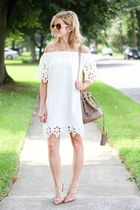 white Sheinside dress - camel Chloe bag - camel Valentino heels