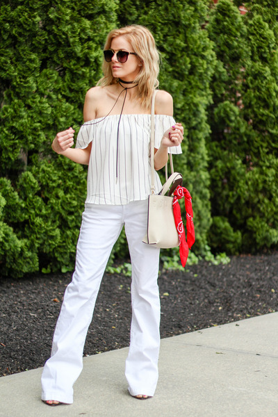 white Silver Jeans jeans - red Forever 21 scarf - white street level bag