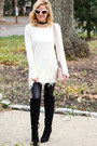Black-forever-21-boots-eggshell-sheinside-sweater-neutral-balenciaga-bag