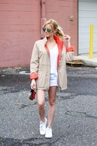tan coffee shop coats coat - white Victorias Secret shorts