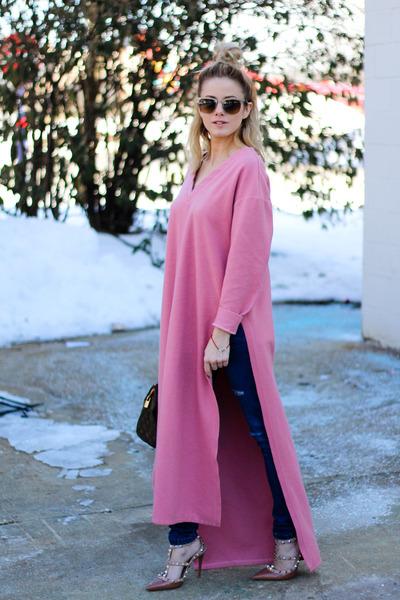 salmon Sheinside dress - navy Sheinside jeans - dark khaki Louis Vuitton bag