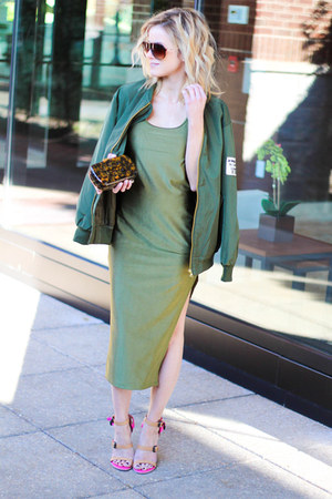 army green Sheinside coat - army green Sheinside dress