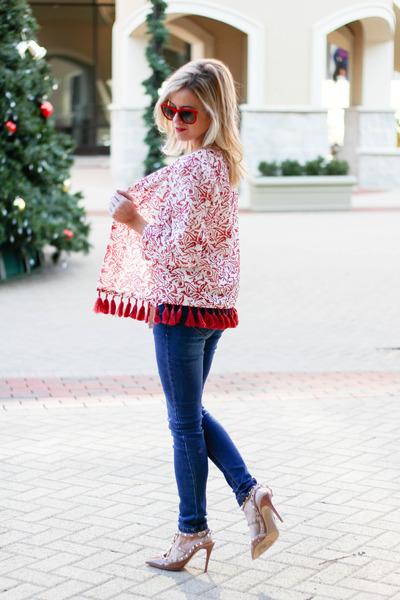 ruby red Sheinside jacket - navy Sheinside jeans - camel Halogen bag