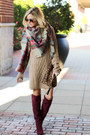 Crimson-shoemint-boots-tan-cotton-emporium-dress-tan-socal-gems-scarf