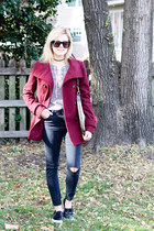 ruby red Thread and Supply coat - black Topshop jeans - camel Gucci bag