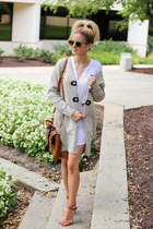 camel gg boutique cardigan - white Jag Jeans dress - navy Hermes scarf