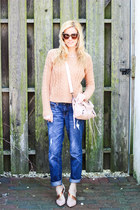 light pink balenciaga bag - blue Jag Jeans jeans - pink LC Lauren Conrad sweater